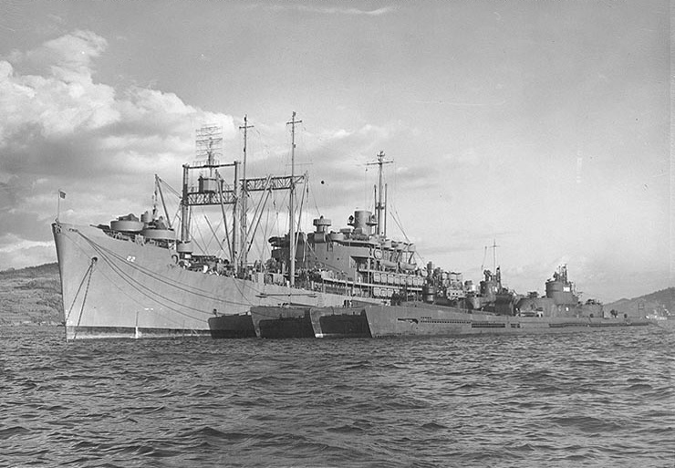 USS Euryale at Sasebo, Japan; 1945. I-401, I-14 and I-400 (from inboard to outboard).
